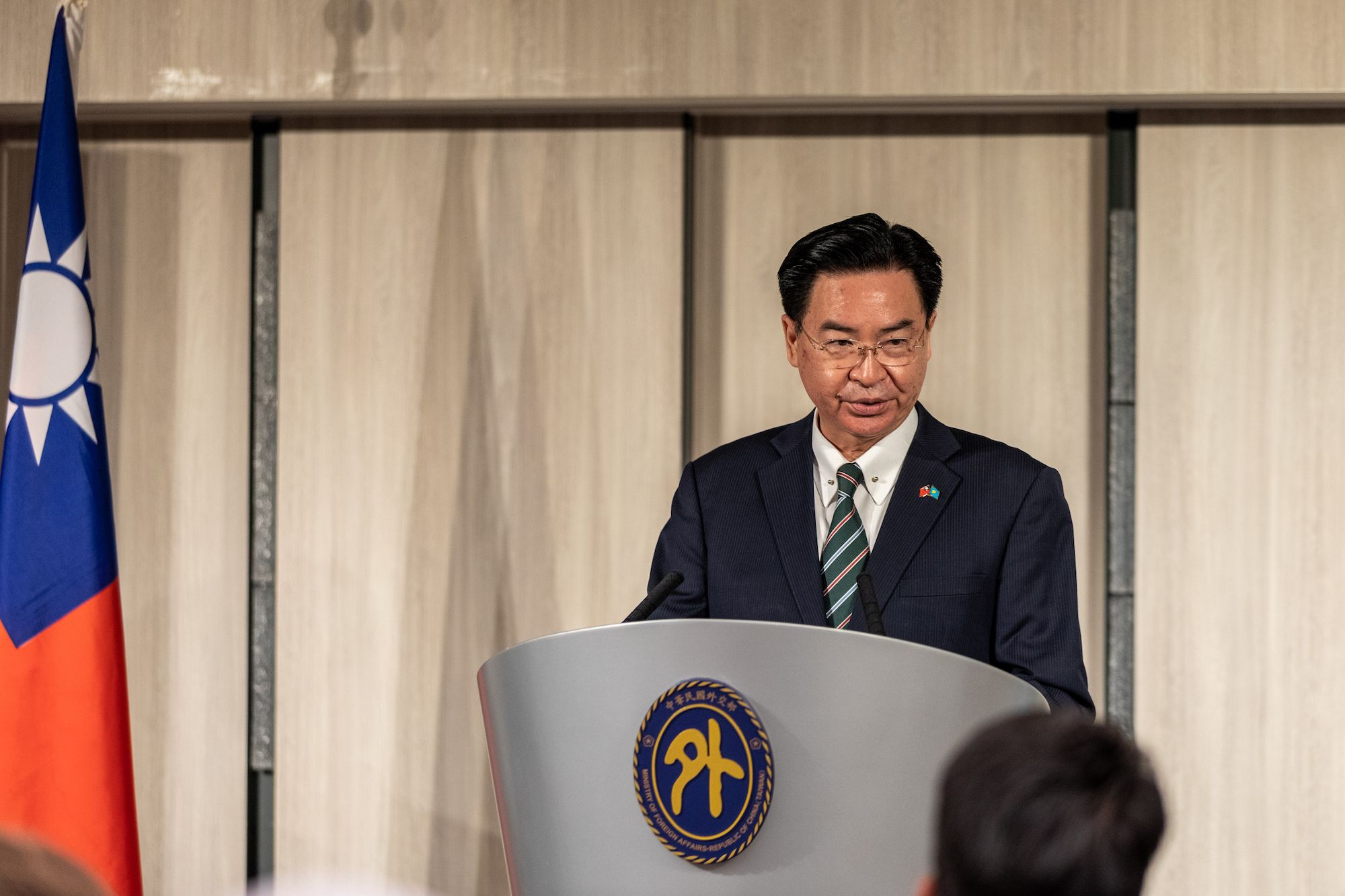 Jaushieh Joseph Wu,  ministro degli Esteri della Repubblica di Cina (Taiwan), marzo 2021. (Foto: Jose Lopes Amaral/NurPhoto via Getty Images).