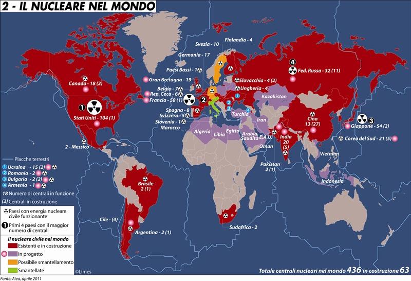 Risultati immagini per centrali nucleari nel mondo mappa