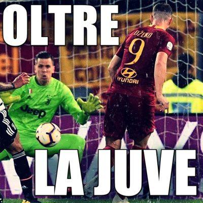La Roma batte la Juve con i gol di Florenzi e Dzeko e resta