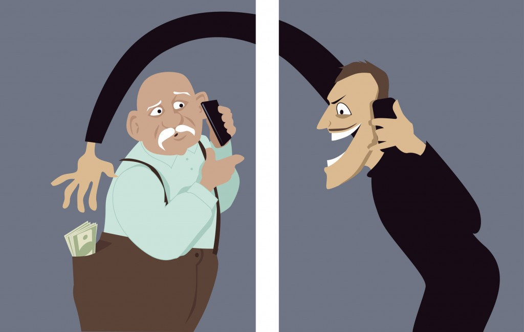 Scammer talks on a phone with a senior man and trying to steal money out of his pocket, vector illustration, no transparencies, EPS 8