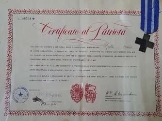 Il Certificato al patriota firmato dal generale Alexander