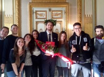21 dicembre 2016, Francesco con i suoi amici dopo aver discusso la tesi