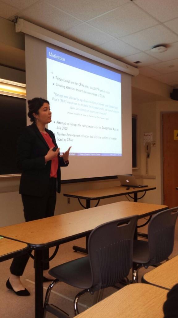 Francesca durante una lezione alla Wayne State University