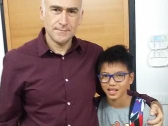 Salvatore con il figlio Paolo prima di andare a scuola
