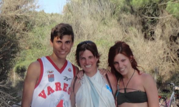 Costanza con i suoi figli Rebecca e Giorgio
