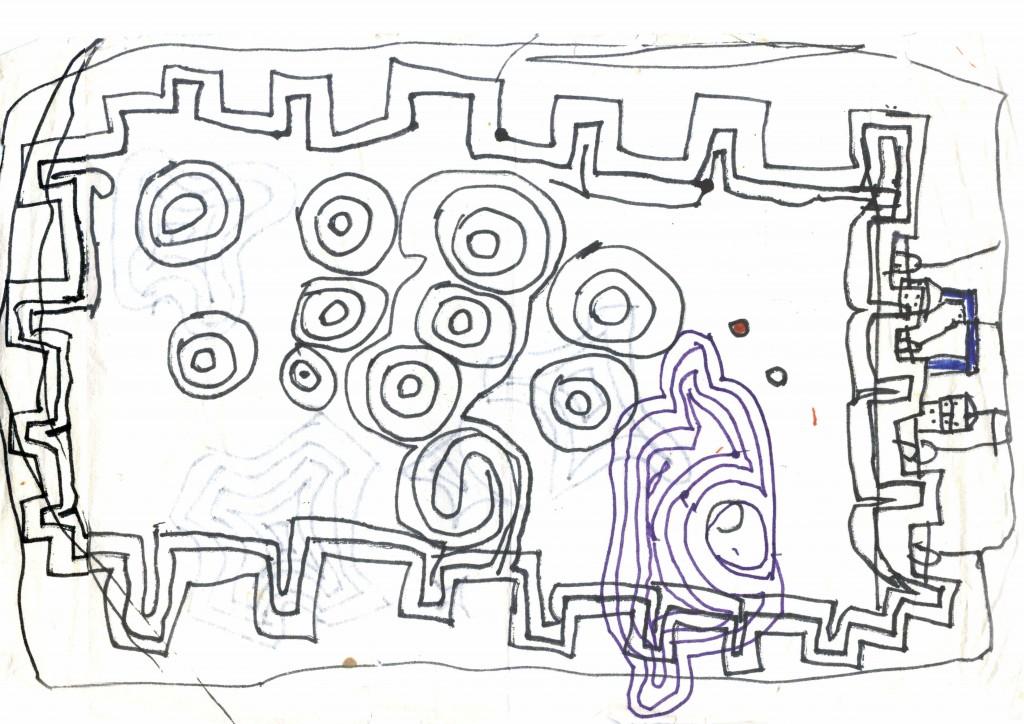 Questo è il disegno fatto dal fratello di Anna dopo una gita a Monteriggioni, in provincia di Siena