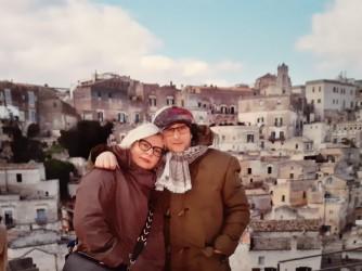 Valentina con suo marito Antonio a Matera in una vacanza di un paio di anni fa