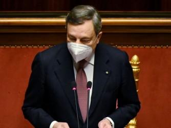 Il presidente del Consiglio, Mario Draghi, durante il suo discorso al Senato