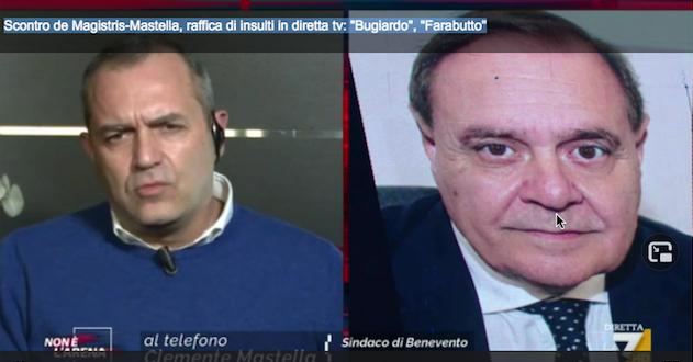 Un fermo immagine della trasmissione di Gilletti, su La7, dove De Magistris e Mastella si sono scontrati