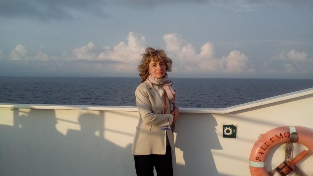 Gabriella ripresa sulla Nave della Legalità il 23 maggio 2018 in viaggio verso Palermo.