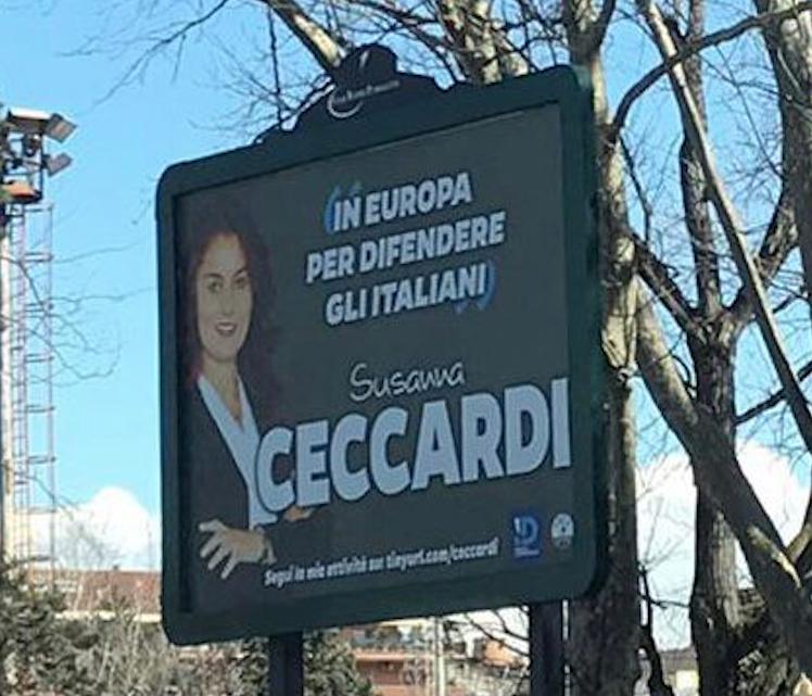 Uno dei manifesti dell'eurodeputata apparsi lungo le strade di Roma
