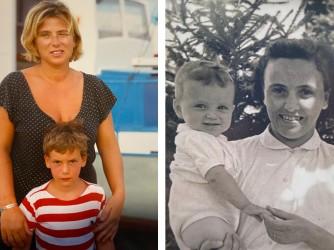 Nella foto a colori Lapo con sua madre Rosa che nella foto in biano e nero è a sua volta in collo a sua madre Ines