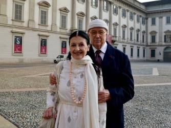 Carla Fracci con il marito, compagno di tutta la vita, Beppe Menegatti