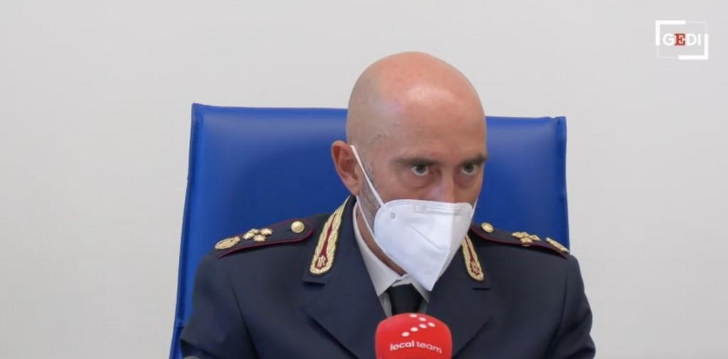 Un momento della conferenza stampa sul blitz della polizia contro i No Vax