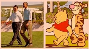 Xi Jinping e Barack OBama come Winnie e Togro