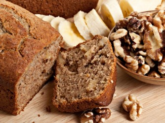 Sliced Banana Bread , Walnuts and Bananas