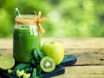 Healthy green smoothie in the jar