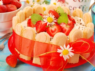 charlotte cake with strawberry