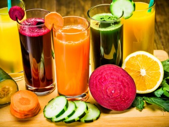 Colorful natural juices ready to drink.