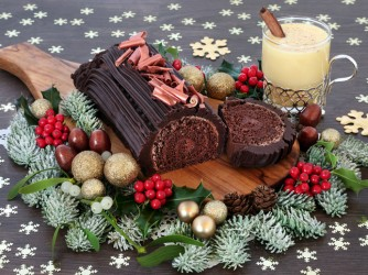Chocolate Yule Log Cake and Eggnog
