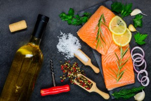Salmon Fillet with Cooking Ingredients and White Wine