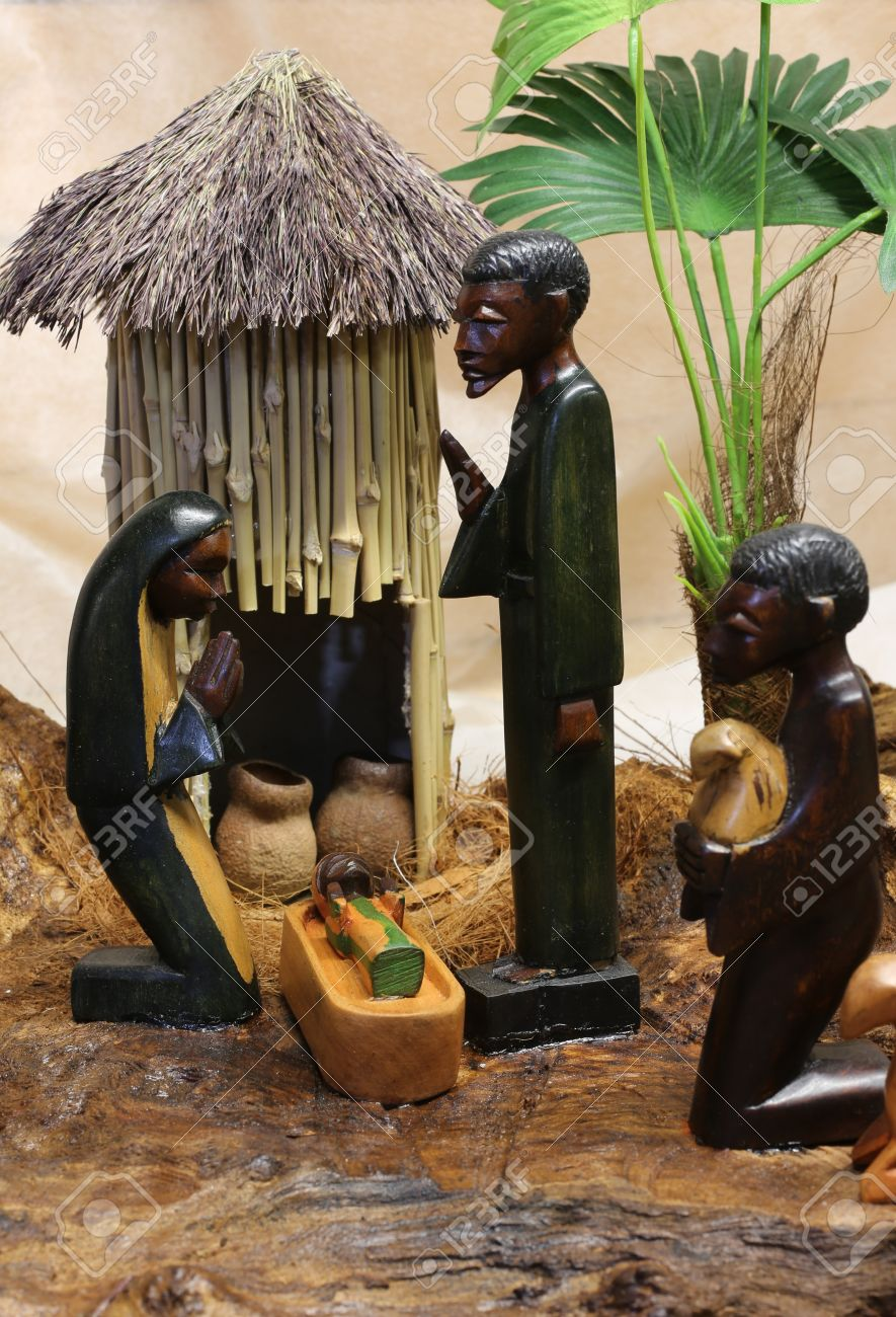 african nativity scene with baby jesus joseph and mary