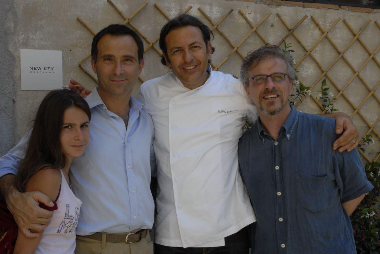 mia figlia Bianca, io, Filippo e l'amico Leonardo Romanelli