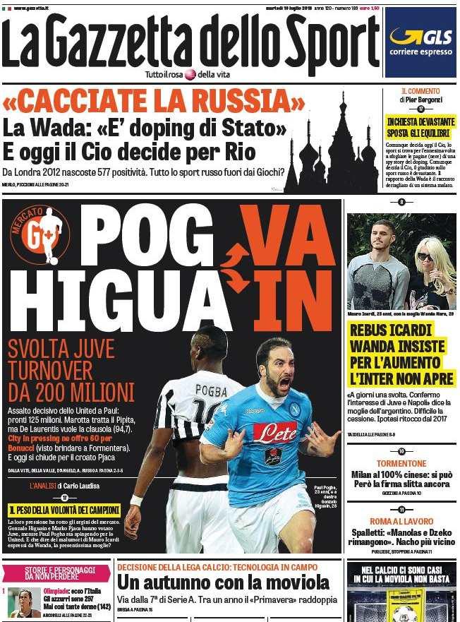 Juve e Napoli al centro del mercato con Pogba e Higuain. La rassegna stampa  sportiva di martedì 19 luglio 2016 (clicca per ingrandire) 27cb7a3d0a864