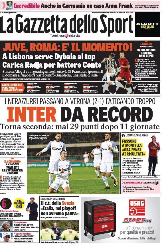 Gazzetta Inter record