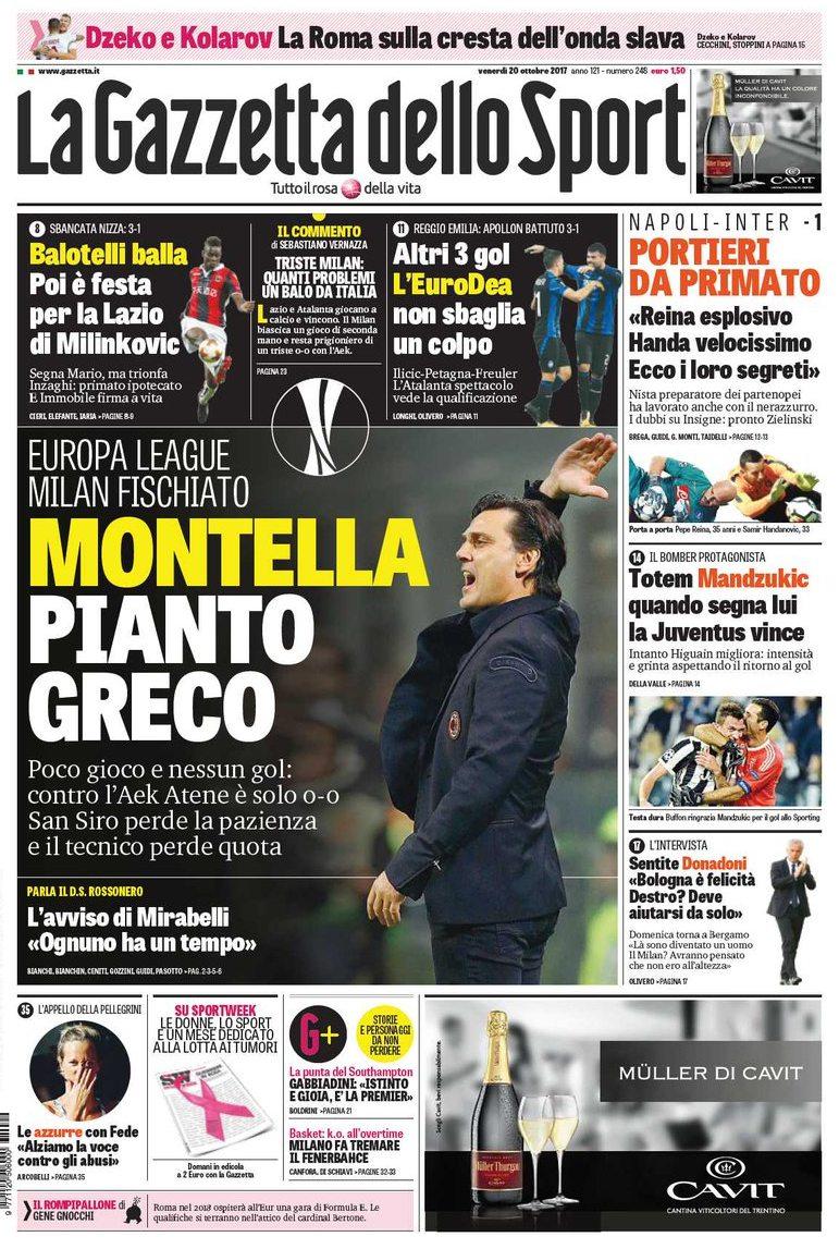 Gazzetta Montella pianto greco