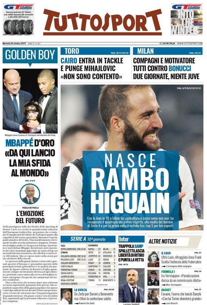 Tuttosport Rambo Higuain