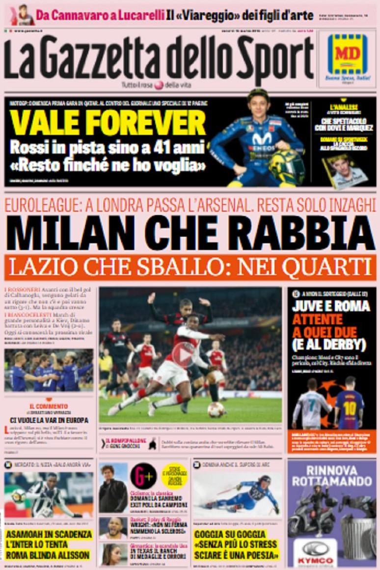 Gazzetta rabbia Milan