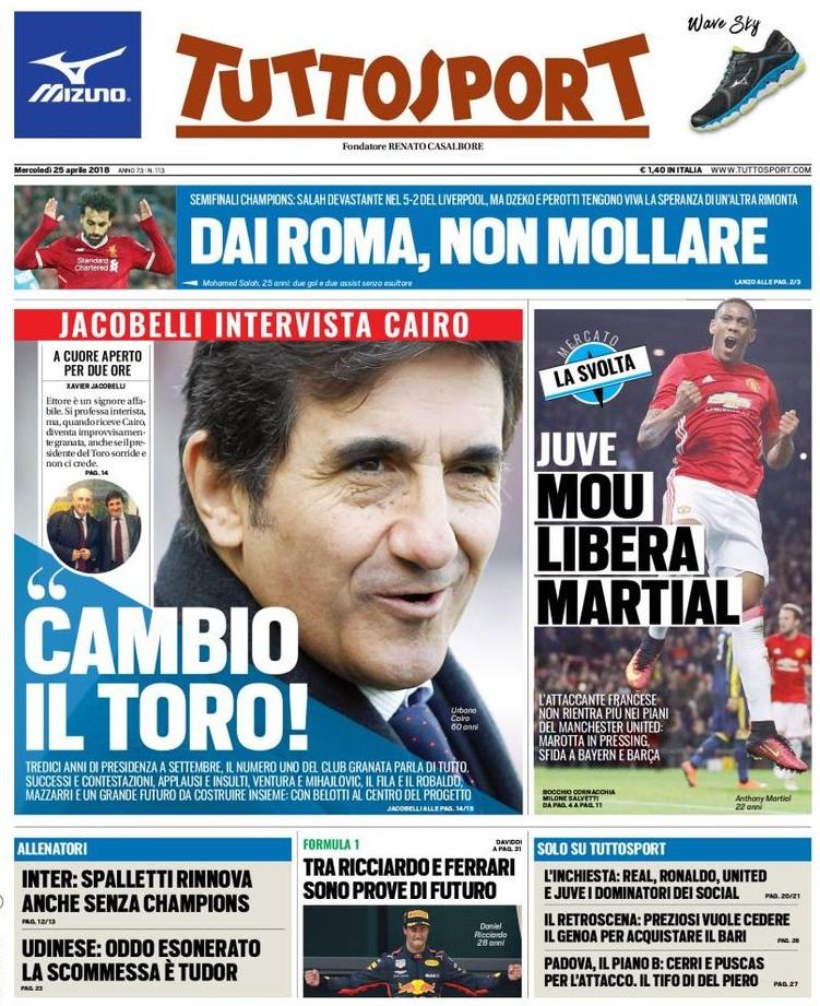 Tuttosport Roma non mollare