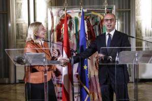Italian FM Angelino Alfano with  Austrian FM Karin Kneissl