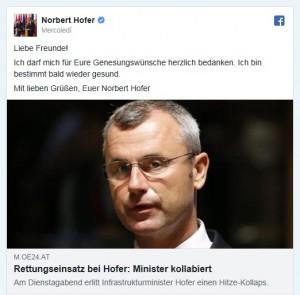 18.06.24 Norbert Hofer su Facebook dopo collasso circolatorio