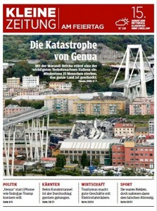 18.08.16 Prima pagina Kleine Zeitung 15 agosto su Genova - Copia