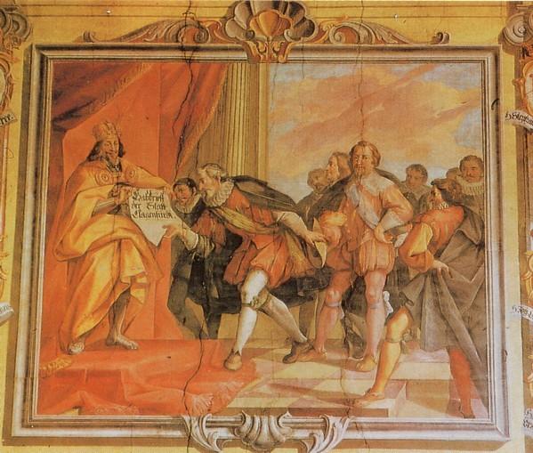 18.10.13 Klagenfurt, Landhaus. Massimiliano I dona la città alle corporazioni