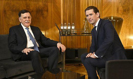 19.01.28 Vienna, Fayez Mustafà al-Sarraj con cancelliere Sebastian Kurz