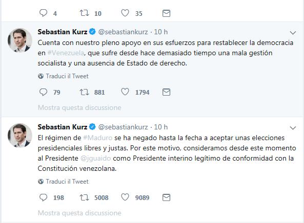 19.02.04 Twitt Sebastian Kurz su Venezuela (Guaidò)