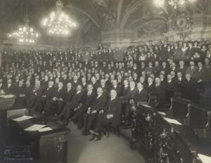 Sitzung der ersten Nationalversammlung Österreichs im Wiener Landhaus