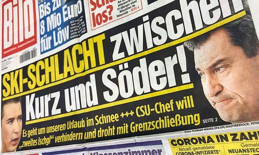 20.11.27 Bild Zeitung, Markus Söder contro Sebastian Kurz