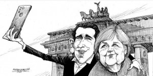 21.10.10 Sebastian Kurz e Angela Merkel (vignetta Petar Pismestrovic)
