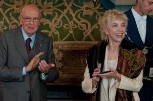 Napolitano e Mariangela Melato al Quirinale per l'udienza delle Mascehre del TEatro (1)