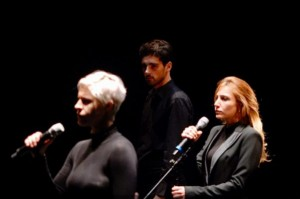 """Matilde Vigna (a sinistra), Giuliana Bianca Vigogna e, sullo sfondo, Emanuela Turetta in """"Aminta"""""""