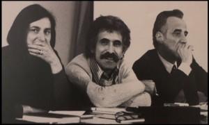 Maria Grazia Gregori con Franco Quadri (al centro) e Roberto De Monticelli in una foto degli anni Settanta