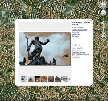 Screenshot della veduta di Google Earth su Bologna, con popup di una fotografia generata dagli utenti