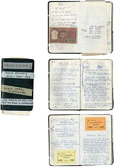 """Copertina e pagine del diario """"Monsone"""" di McCurry, 1983"""