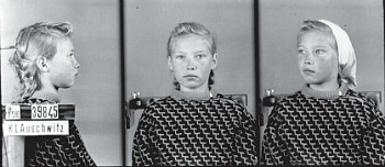 "La giovane polacca Rozalia Kowalczyk, prigioniera ad Auschwitz con il nu- mero 39845 e sigla ""PPole"". [Museo di Auschwitz – foto di W. Brasse]"