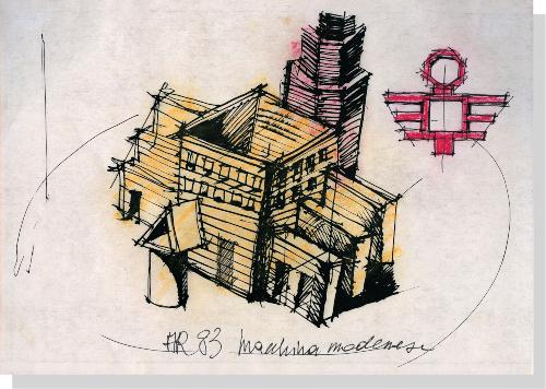 disegno per la macchina modenese di Aldo Rossi