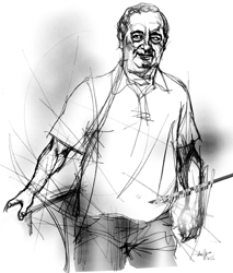 Rino Merola nel disegno di Francesco Ardizzone